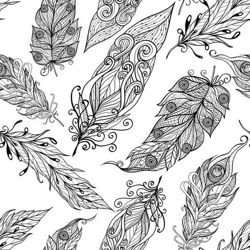 Patrón sin costuras doodle negro de plumas vector