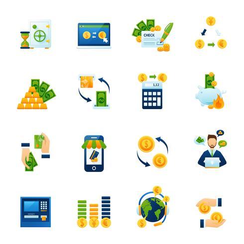Currency exchange flat icons set vector
