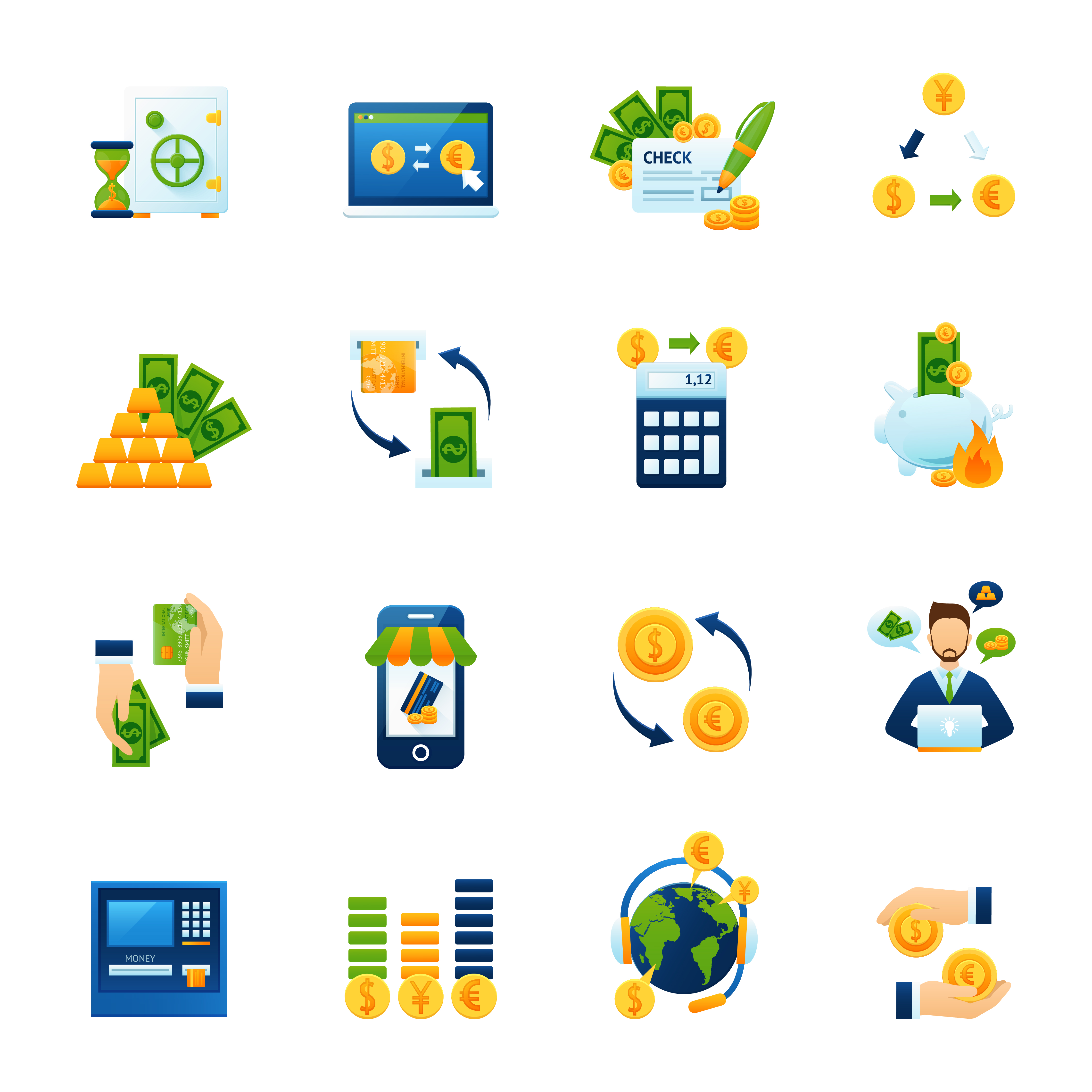 Currency Exchange Flat Icons Set