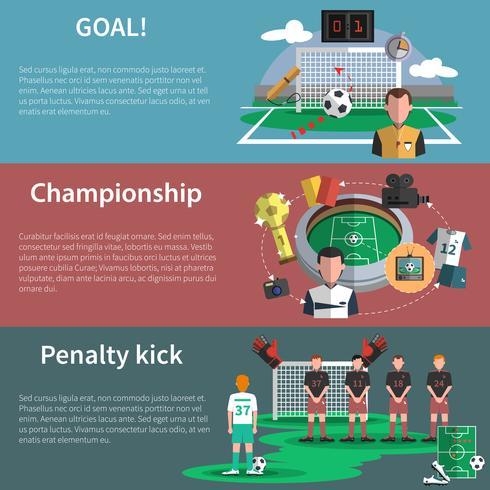 Conjunto de bandeiras de esporte de futebol vetor
