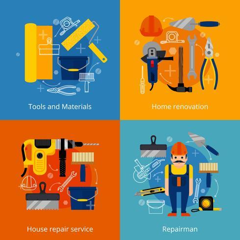 Conjunto de iconos de servicio de reparación y renovación