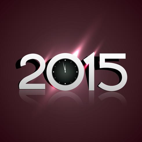 Diseño brillante de año nuevo 2015 con reloj de estilo creativo.