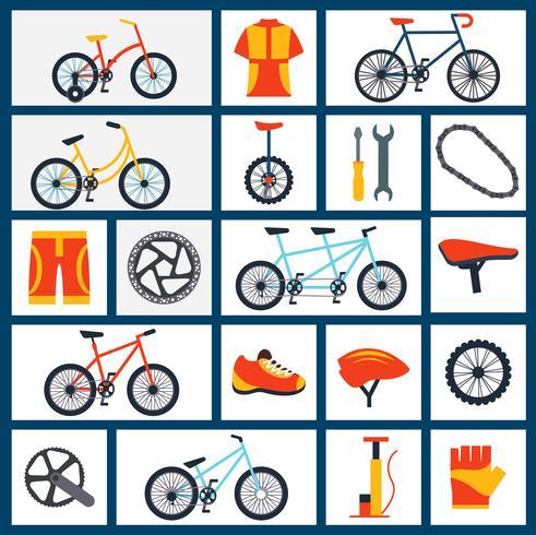 Conjunto de iconos planos de accesorios de bicicleta vector