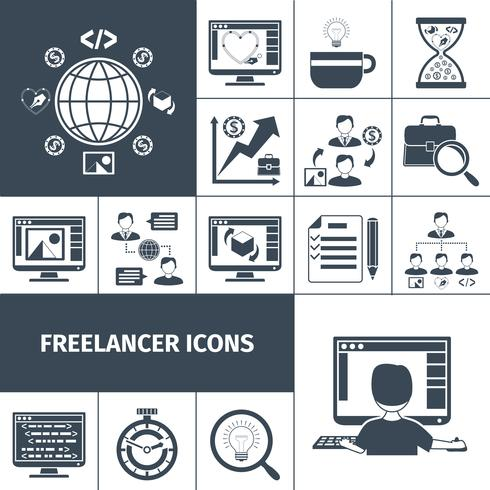 Freelancer ícones preto