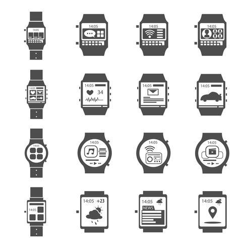 jeu d'icônes noires de montre intelligente
