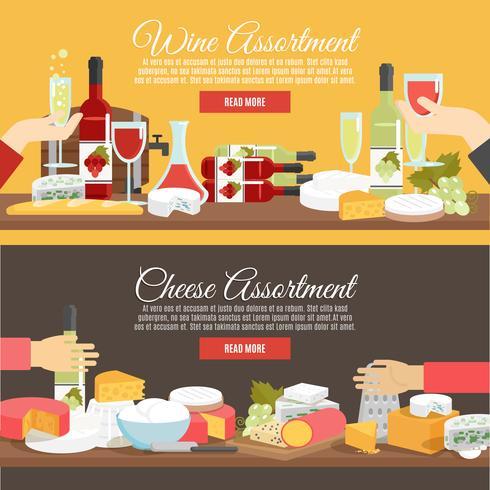 Set di banner piatto di formaggio e vino vettore