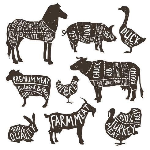 Animali da fattoria Silhouette Typographics
