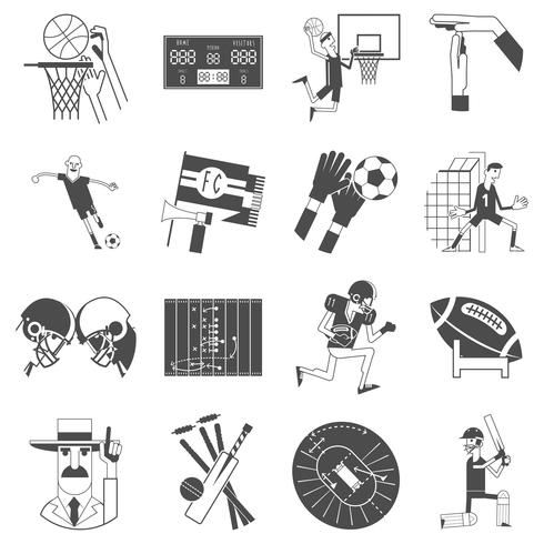 Equipo deportivo iconos conjunto negro