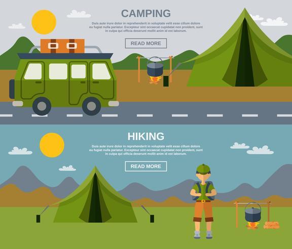 Campingbannerset vector