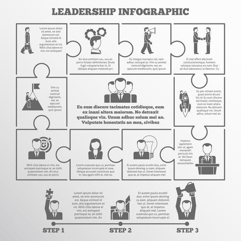 Conjunto de infografía de liderazgo.