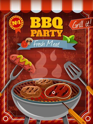 Barbecue partij poster vector