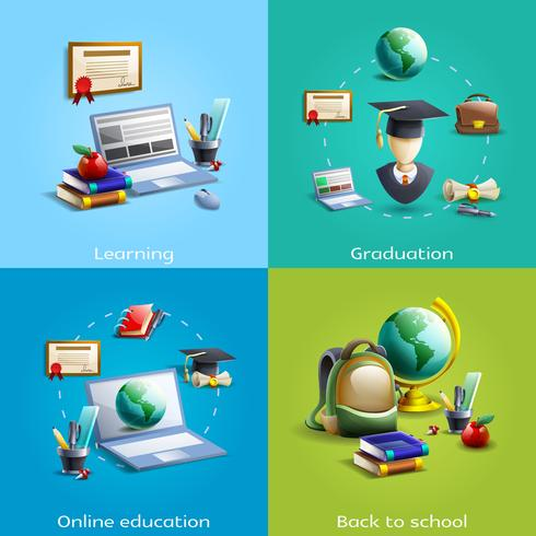 Education and learning icons set