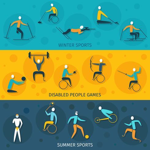 Banners de deportes para discapacitados vector