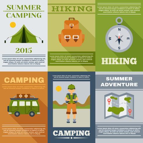 set di poster da campeggio vettore