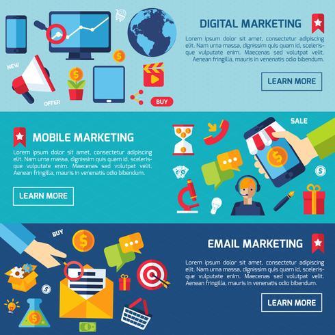 digital marknadsföring banner set vektor