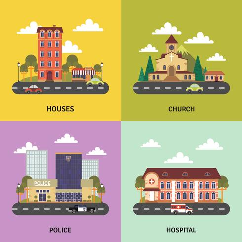 Paisaje urbano 4 iconos planos banner