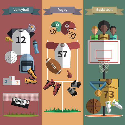 Conjunto de banners verticales de deporte de equipo.