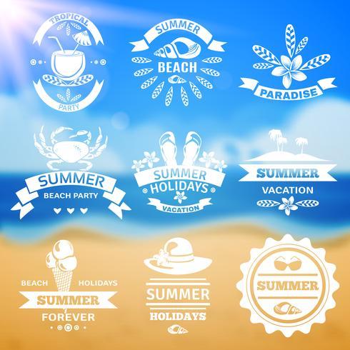 Sommar semester typografi emblem etiketter set vektor