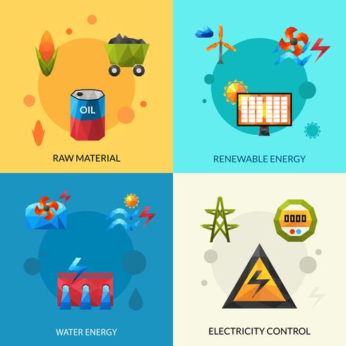 Energieressourcen Icons Set