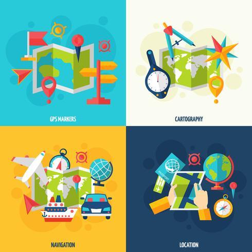 Conjunto de iconos planos de navegación y ubicación