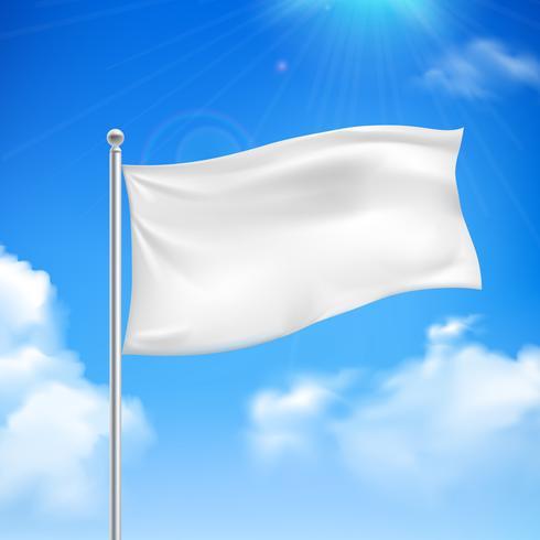 White flag blue sky background poster vector