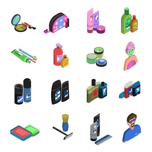 Conjunto de iconos isométricos de cuidado corporal