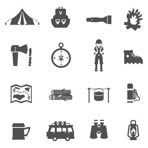 Ícones de acampamento preto