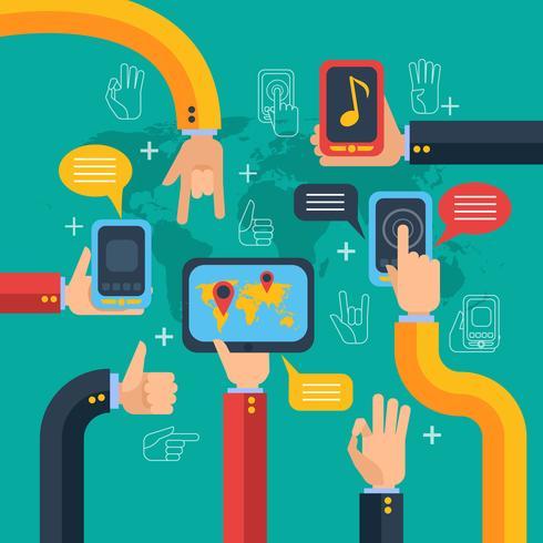 Concepto de manos y teléfonos con pantalla táctil.