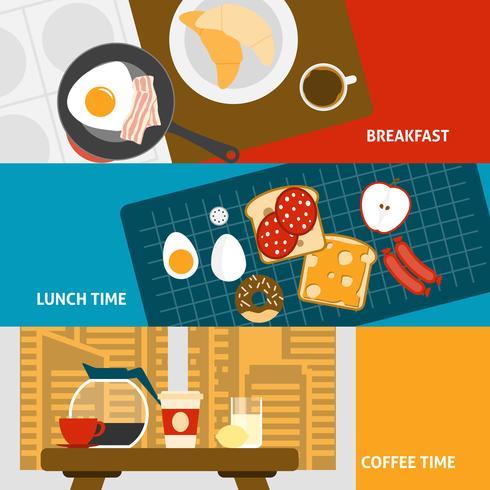 Banners de desayuno conjunto vector