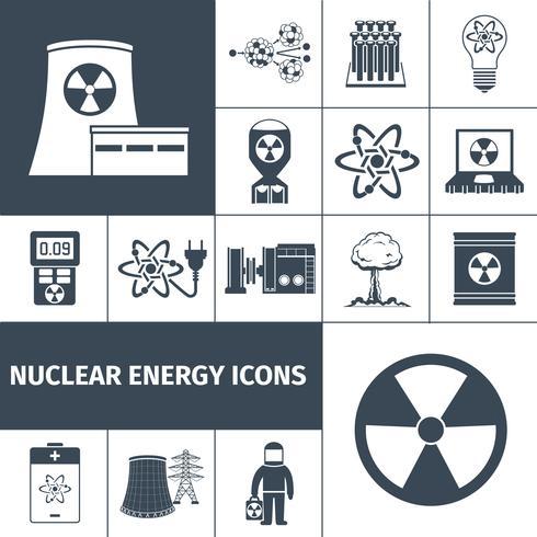 Conjunto de iconos de energía nuclear negro