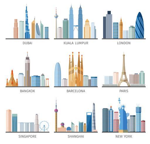 City skyline platt ikoner uppsättning