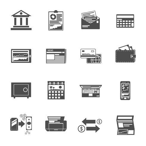 conjunto de ícones bancários preto vetor