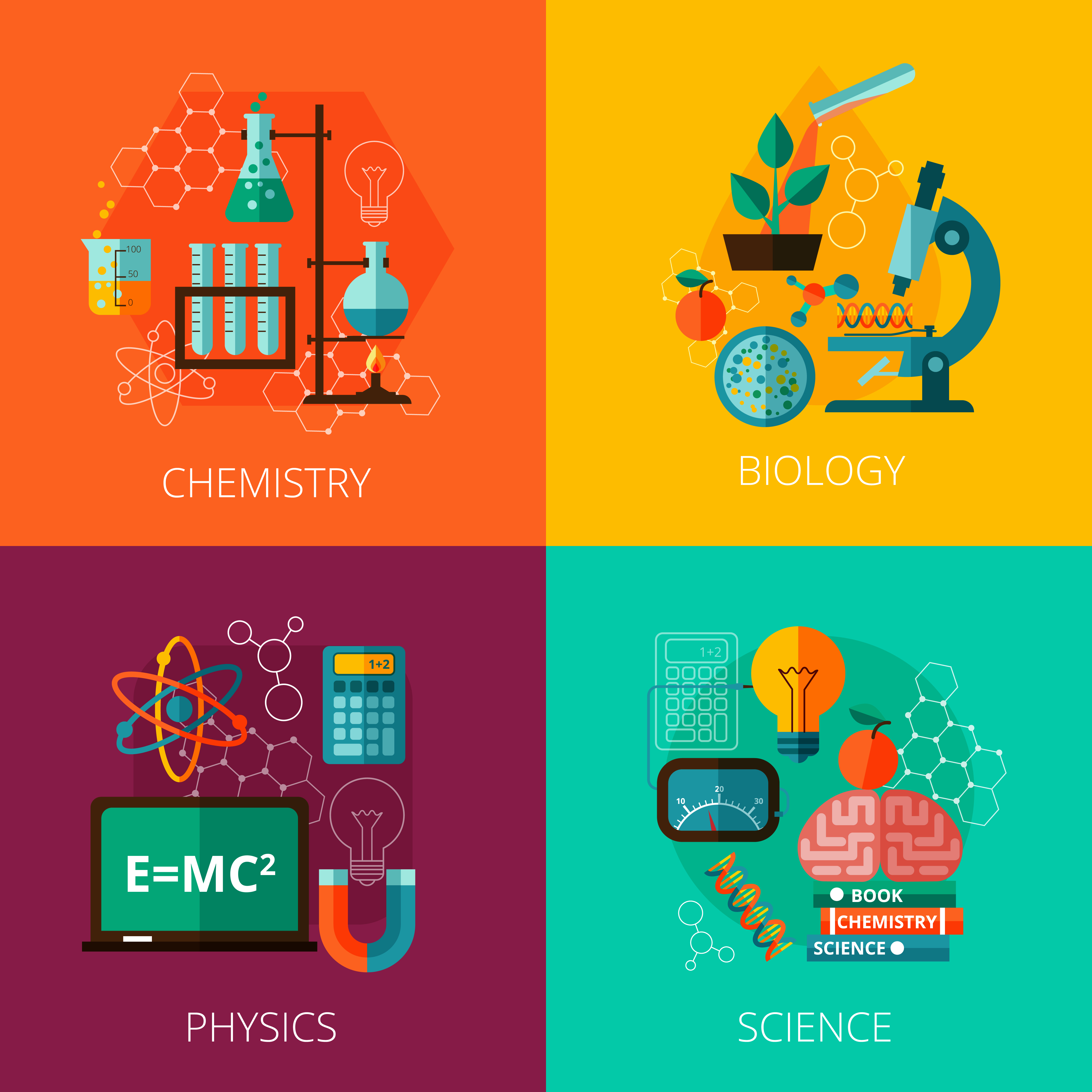 Flat Code Logo Collection: Science Concept 4 Flat Icon Composition Icons