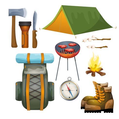 Turismo caminhadas camping coleção pictogramas plana vetor