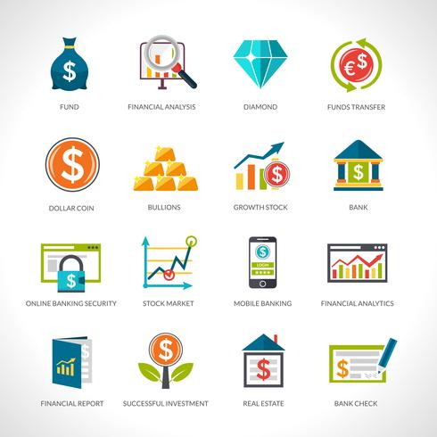 Conjunto de iconos de análisis financiero