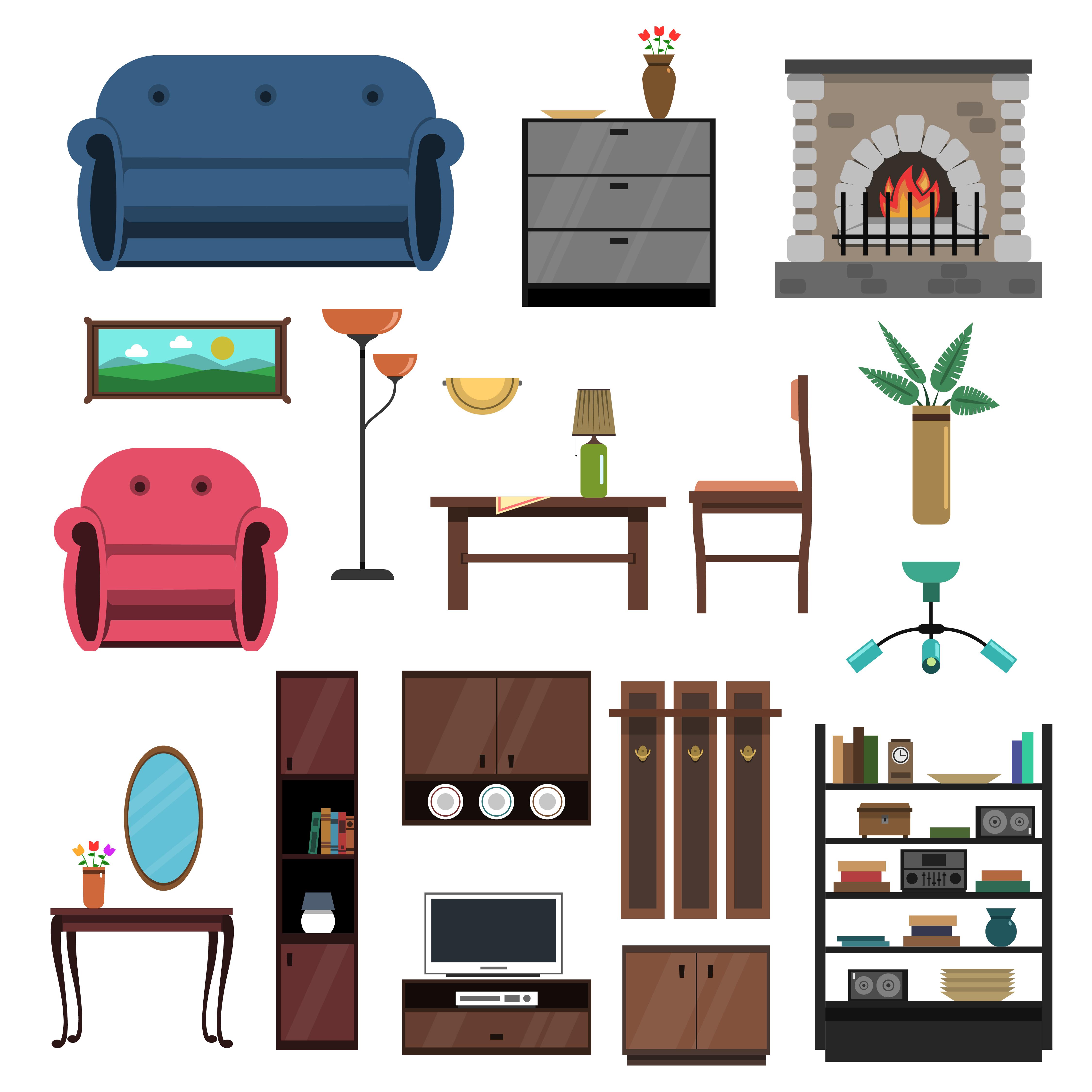 Interior Icons Flat Set - Download Free Vectors, Clipart Graphics & Vector Art