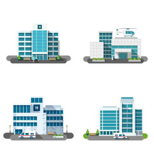 Krankenhaus-Gebäude-Set vektor