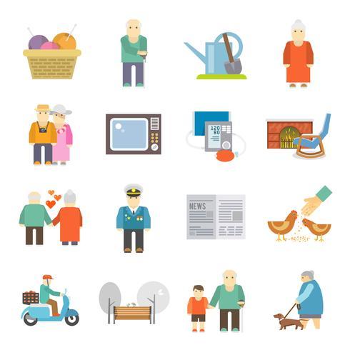 Pensionärer livet platt ikoner uppsättning