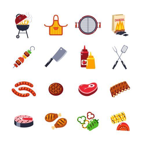 Barbecue en grill Icon Set vector