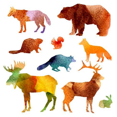 Watercolor Animals Set vector