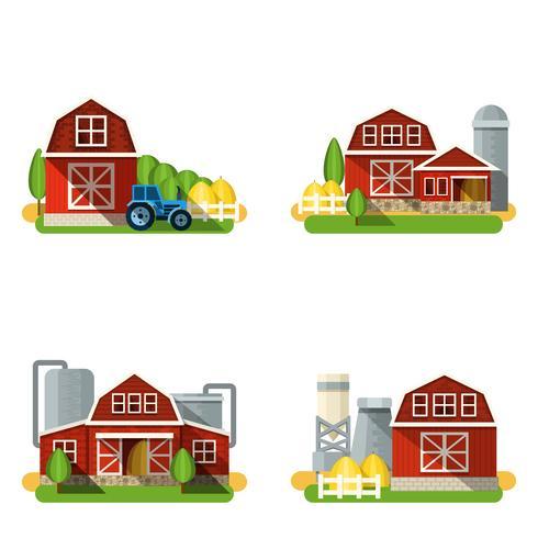 Farm Flat Set vector