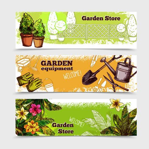 Garten-Banner-Set vektor