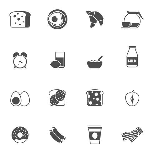 Frukost och morgon svart vita ikoner uppsättning vektor