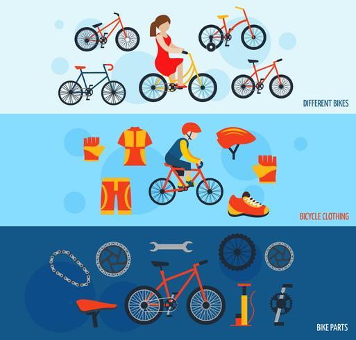 Conjunto de banners de accesorios de bicicletas.