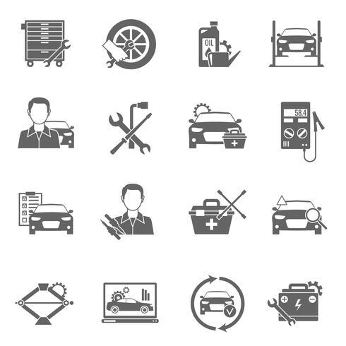 Conjunto de ícones de mecânico auto vetor