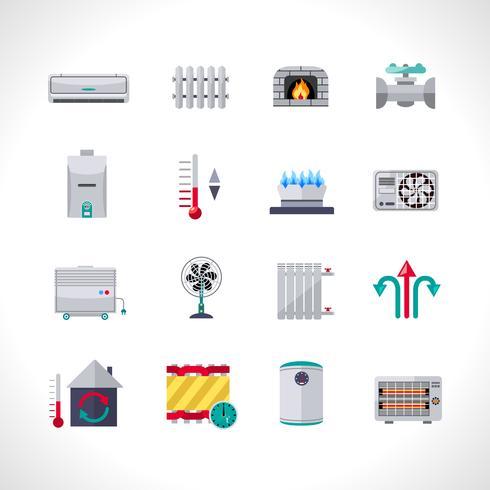 Set di icone di riscaldamento vettore