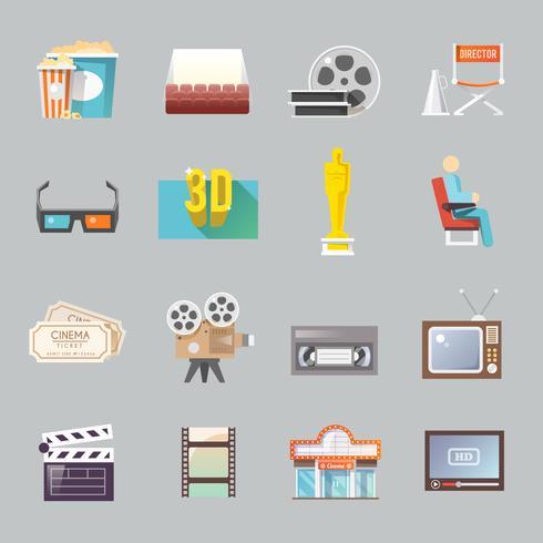 Conjunto de iconos planos retro de cine