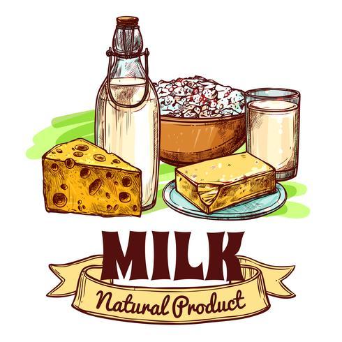 Mjölk Produkt Skiss Concept