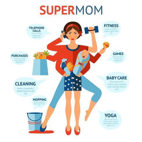 Concepto de super mamá
