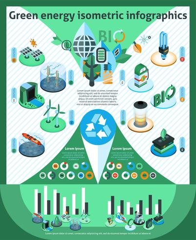 Green Energy Isometric Infographics vector